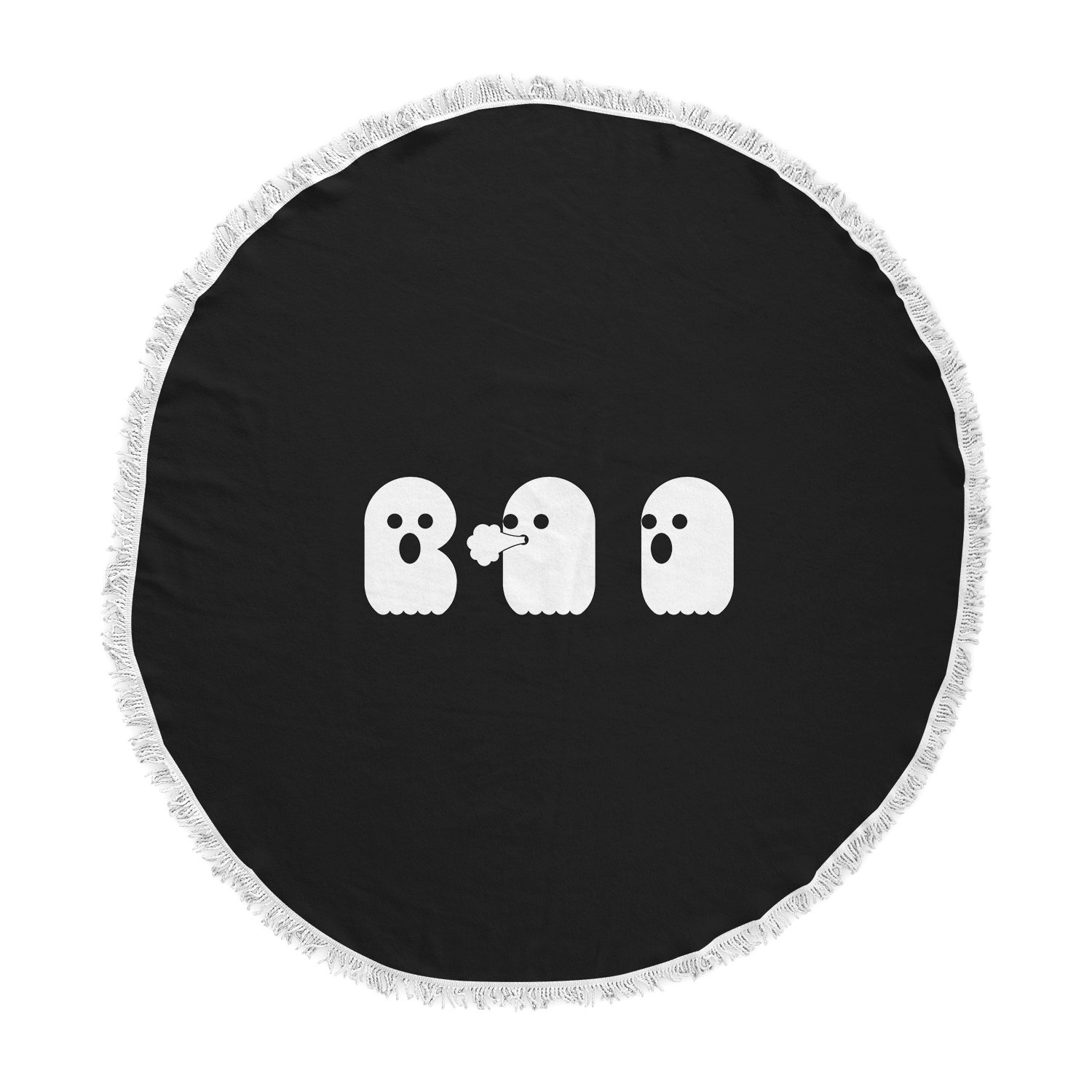 Kess InHouse Eikwox Boo White Black Vector Round Beach Towel Blanket