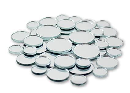 Small Mini Round Craft Mirrors Bulk Assortment 1/2, 3/4 & 1 inch 100 Pieces  Mirror Mosaic Tiles