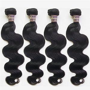 Amapro(TM)10~30 Inch Grade 7A Body Wave Human Hair Extension Weave 4 Bundles/Lot 100% Unprocessed Brazilian Human virgin Hair Natural Color (14 14 14 14)