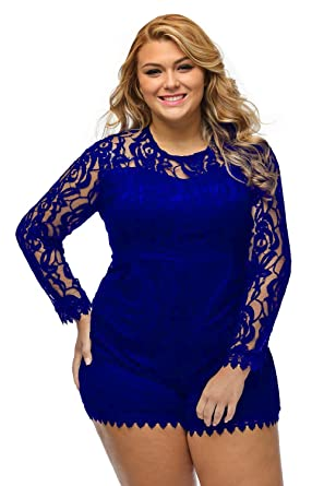 a091264eefe8 roswear Women s Plus Size Round Neck Long Sleeve Lace Romper Dress Royal  Blue XXXXX-Large
