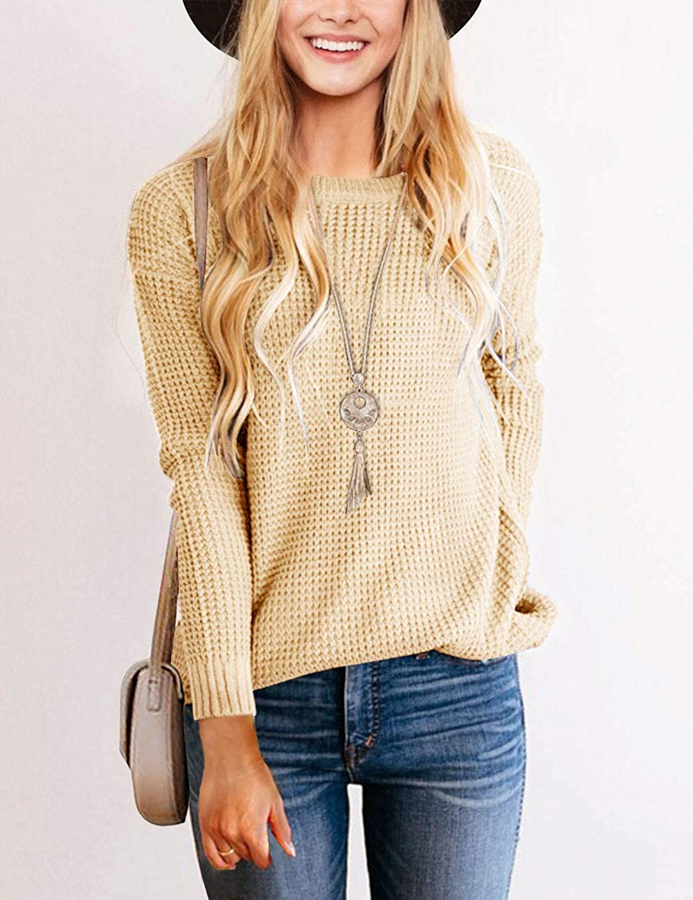 TECREW Womens Waffle Knit Pullover Sweaters Long Sleeve Casual Jumper Tops