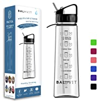 Balhvit Motivational Water Bottle, [BPA Free Tritan] 900ml/30oz No Leak Non-Spill Sports Water Bottle with Straw, Plastic Water Bottles with Times to Drink, Eco Friendly Drinks Bottle for Adults/Kids