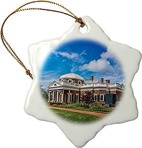 3dRose Monticello View Snowflake Ornament