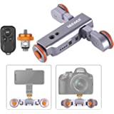 Neewer 3-Wheels Wirelesss Camera Video Auto Dolly, Motorized Electric Track Rail Slider Dolly Car with Remote, 3 Speed…