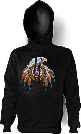 ab33c5f5079 Eagle American Natives Indian Hoodie (Pullover Hooded Sweatshirt in Black -  Black