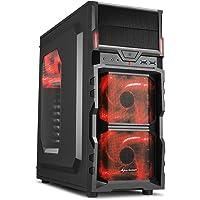 Sharkoon VG5-W PC-Gehäuse (Schnellverschlüsse, 3x 120-mm-LED-Lüfter vorinstalliert, USB 3.0) rot