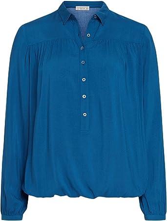 Brigitte von Boch - Camisas - corte imperio - Básico - para mujer azul azur 38: Amazon.es: Ropa y accesorios