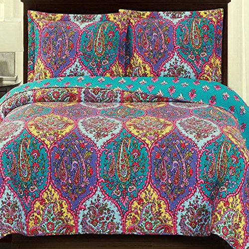 Bedspread Coverlet 3 Piece Quilt Set King/Cal King Size Oversized (110 x 96) Mandala Medallion Paisley Pattern Blue Purple Lightweight Reversible Wrinkle Free Hypoallergenic Bedding