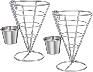 BESTONZON 2PCS French Fry Stand Cone Basket French Fry Chips Cone Metal Wire Basket with Sauce Dippers for Home Parties/Backyard Picnics/Outdoor Events/Appetizers