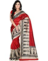 e-VASTRAM Women's Art Mysore Printed Silk(NS7B_Maroon)