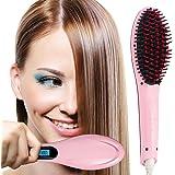 Spazzola Lisciante per capelli con struttura in ceramica per la cura dei capelli, con effetto antistatico per capelli lisci e Voluminosi sia a casa che in viaggio. Di colore Rosa.
