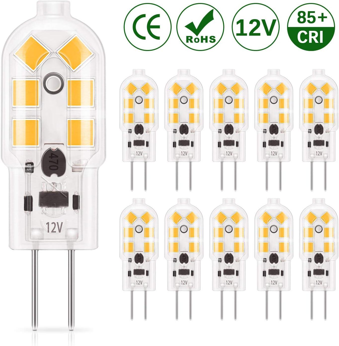 DiCUNO 10-Pack G4 1.5W LED Bulbo, 180LM, AC/DC 12V Bombillas de iluminación equivalente a 20W Halógena, Blanco cálido 3000K, No regulable, Reemplazo para la iluminación de la cocina