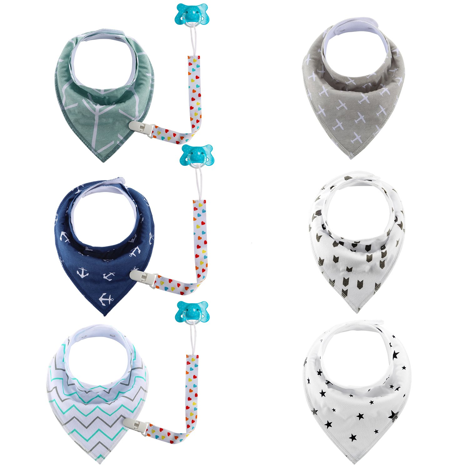 Fitfirst Baby Bib Set, 6 Super Absorbent, Soft, Chic Organic Drool Bibs + 3 Pacifier Clips Holder,Excellent Baby Shower/Registry Gift (1, 6pcs+3pcs) WMB-BB9P-CF