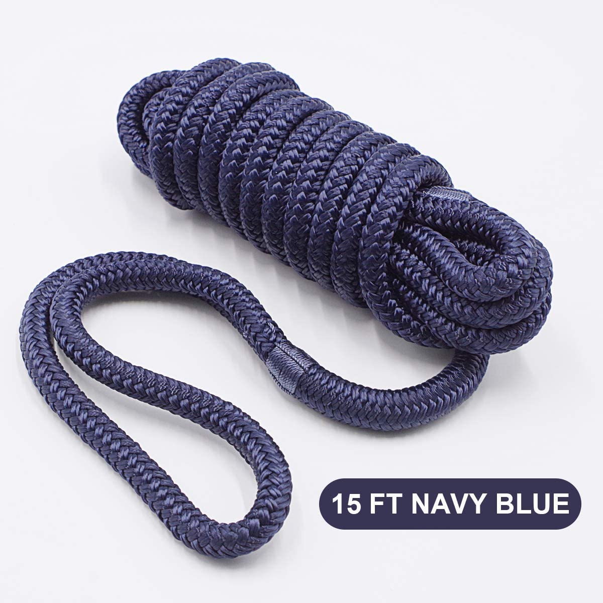 .Hi-Performance Marine Boats Mooring Rope Dock Line 4 Pack Navy Blue, L: 15 ft. D: 1//2 inch Eyelet: 12 inch, 4 Count INNOCEDEAR Double-Braided Nylon Dock Line
