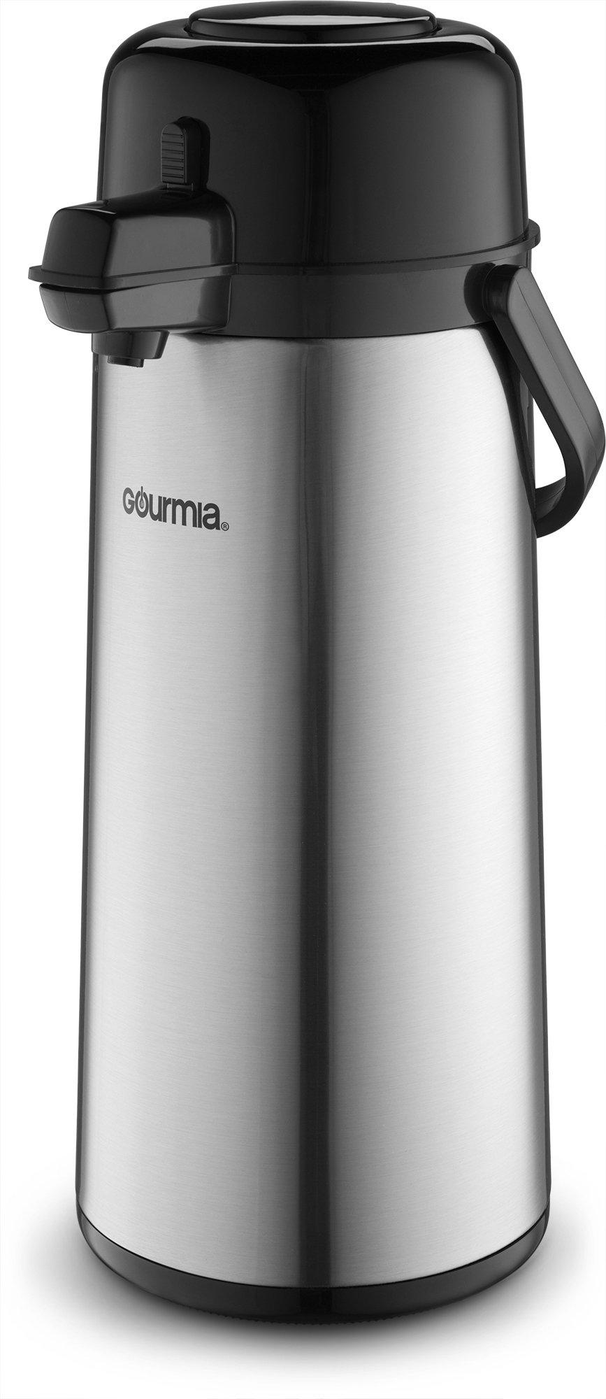 Gourmia GAP9820 Airpot Thermal Hot & Cold Beverage Carafe With Pump Dispenser 2.2L Capacity