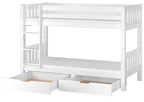 Erst-Holz Cama Blanco litera para niños con colchones de 90 X 200 con Box