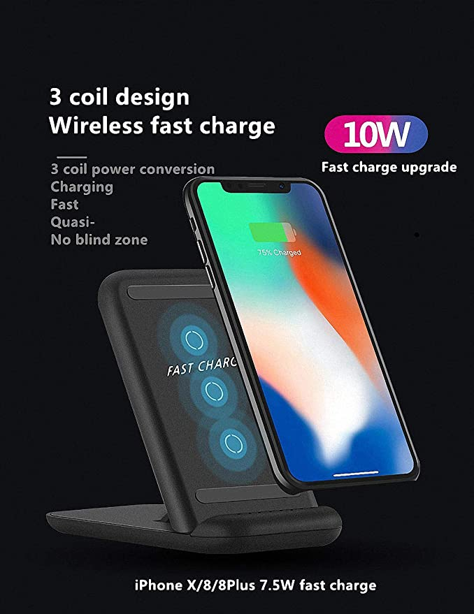 Amazon.com: Femkeva 3 Coils Wireless Charging Stand for iPhone X, for iPhone 8/8 Plus 7.5W Wireless Fast Charger Qi-Certified 10W Fast Charger for Samsung ...
