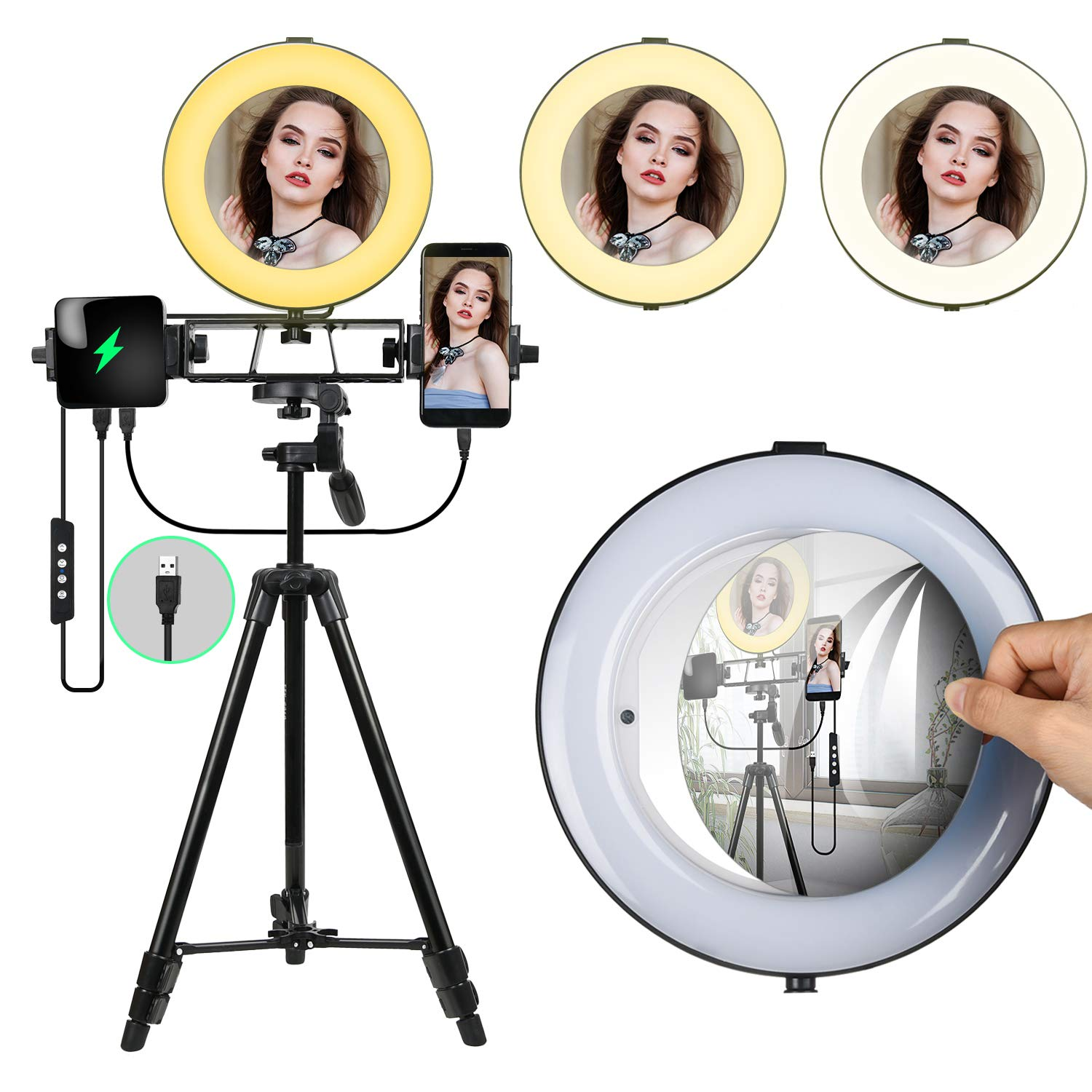 8'' Ring Light with Mirror,Dimmable Selfie LED Ring Light for Beauty, Makeup,Live Stream,YouTube Video Shooting,Photography with Adjustable Tripod Stand  and Cell Phone Holder for iPhone Android by MACTREM