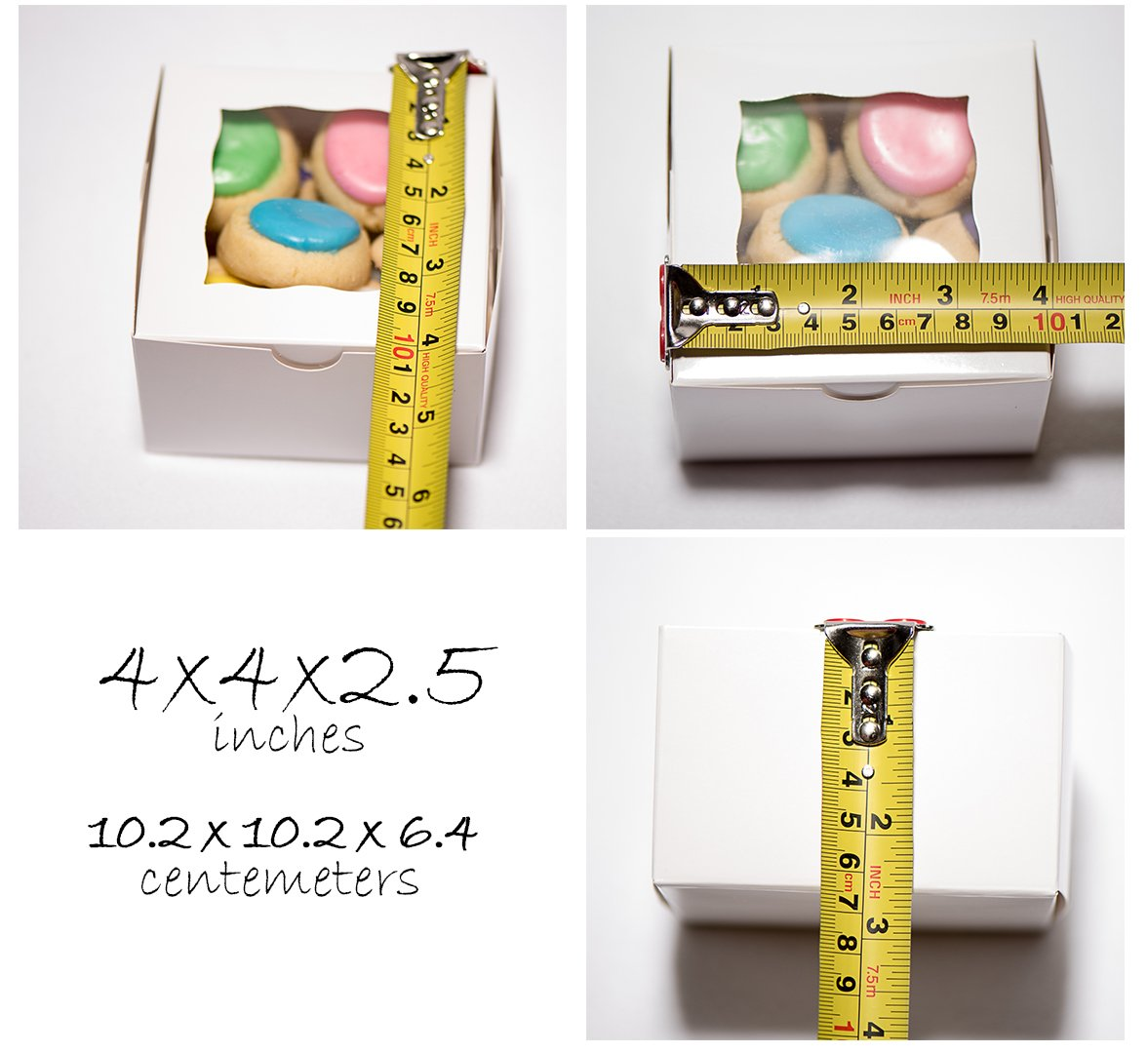 Small White Bakery/Pastry Boxes - 10 Pack 4x4x2.5'' Gift Box for Weddings/Holidays/Party Favors/Birthdays/Desserts, Cookie Boxes with Window, Bonus Labels