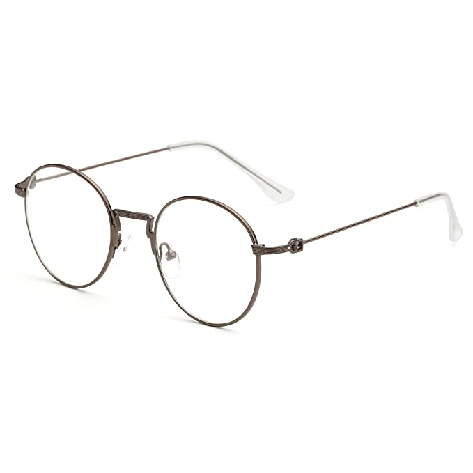 Simvey Classic Vintage Round Circle Metal Glasses Frame Clear Lens ...