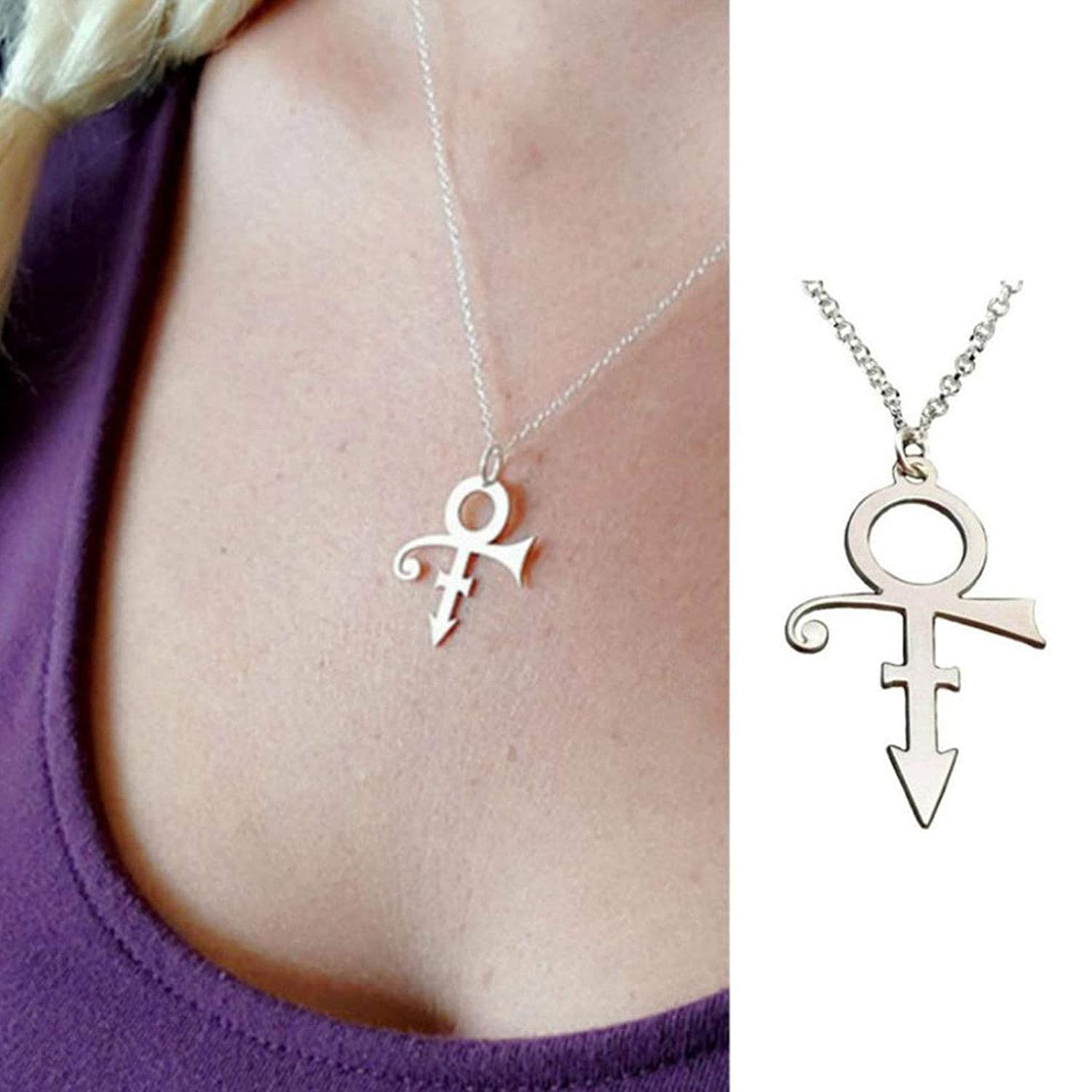Prince Rogers Nelson Symbol Pendant Necklace Silver or Black Free Shipping