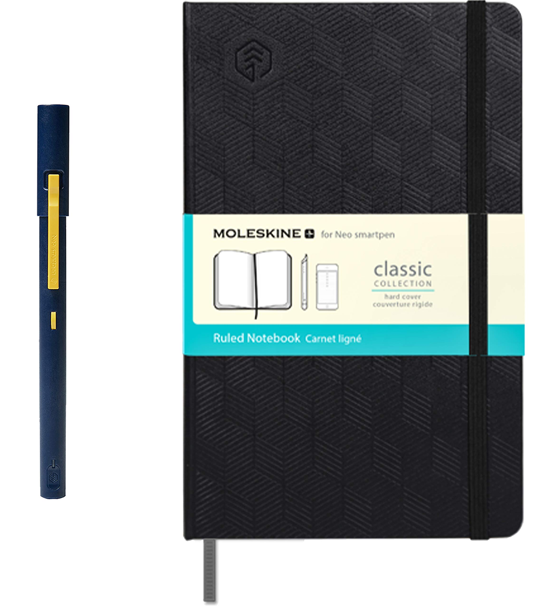 Neo Smartpen M1 (Navy) with N Water Repellent Hardcover Moleskin Notebook (240 Pages) Bundle for iOS, Android, Smartphones, Tablets, and Windows by NeoLab Convergence