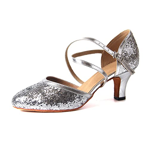 newest b40a3 eef87 Naudamp Femmes Cross Strap Paillettes Paillettes Latin Dance Chaussures  Ballroom Talons Salsa Party Chaussures