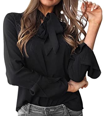 66c53e3c518023 Celltronic Women Casual Bow Tie Neck Blouse Top Bell Long Sleeve Loose  Pullover Shirt,Black