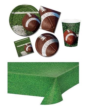98bcfd9e611a Amazon.com  Football Party Supplies Bundle Serve 16  Tailgate Rush ...