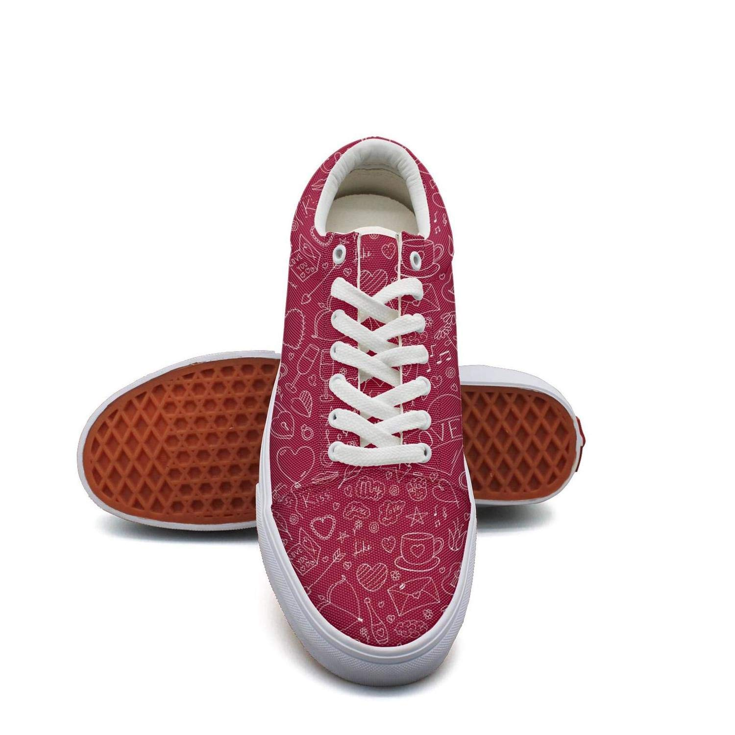 Valentines Art Hearts I Love You Red Womens Lace up Fashion Sneaker Low Top Casual Flat Walking Shoes Breathable