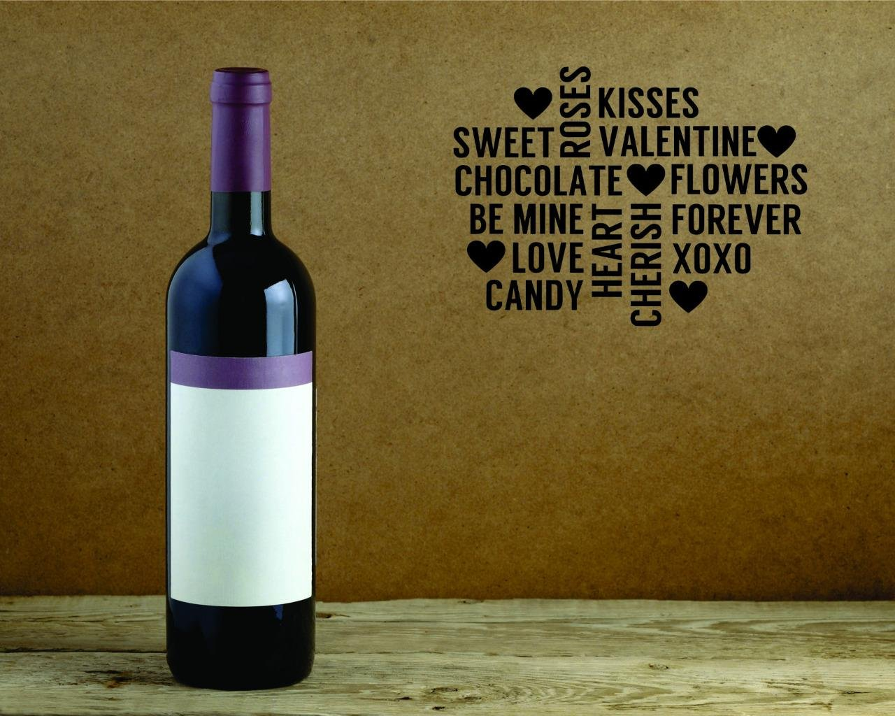 Black Size:18 x 18 Inches Design with Vinyl Moti 2574 3 Decal Wall Sticker Kisses Valentine Chocolate Be Mine Forever Love Heart Candy Holiday Seasonal Quote Color