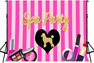 Spa Party Backdrop FHZON 7x5ft Lipstick Perfume Ladydog Pink Stripe Background for Photography Interior Decoration Party Photo Booth Props MLSFH1367
