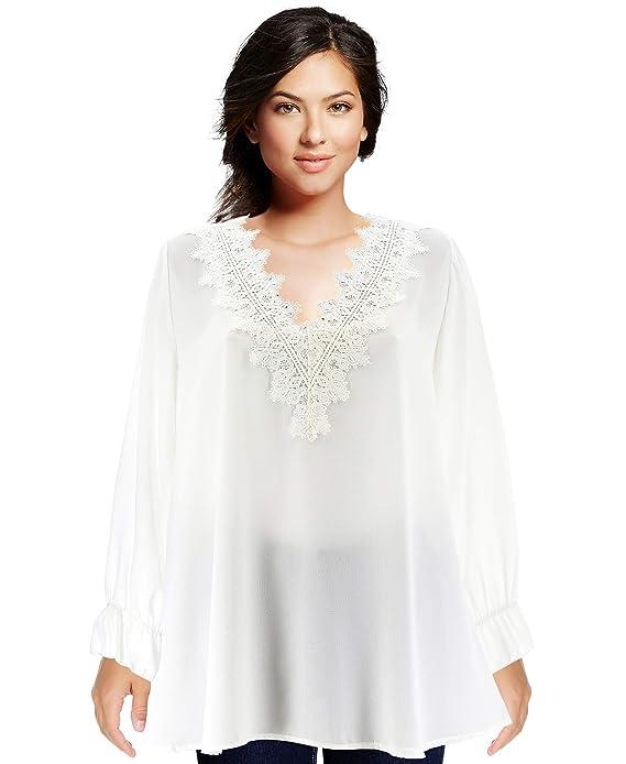 Charleselie94® - Tunique Blouse Chic crêpe Dentelle Blanc NIRINA Blanc   Amazon.fr  Vêtements et accessoires 741976c1fa9