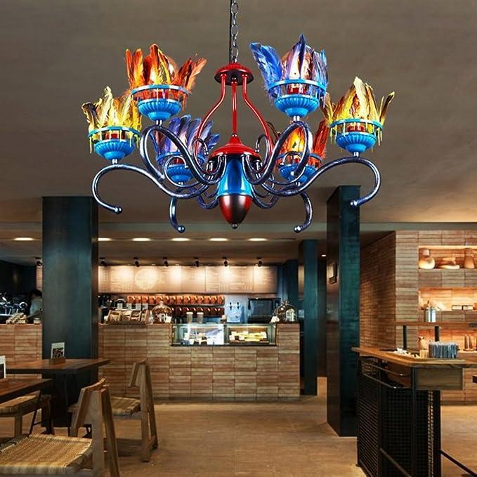 Amazon.com: MOMO Estilo NÓRdico Color Pluma DecoraciÓN Creativo Hierro Candelabro Sala Restaurante IluminaciÓN Tienda De Ropa Ingenieria 6 Luces: Sports & ...