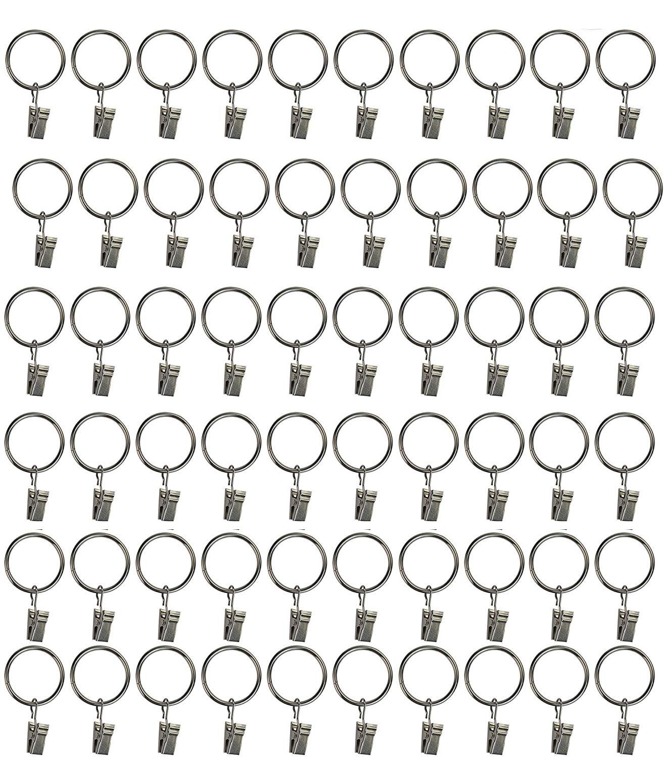 CRIVERS Practical Metal Curtain Clips Rings Drapery Curtain Rings with Clips (40pc)