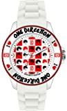 One Direction - ONED05M - Montre Mixte - Quartz Analogique - Cadran Rouge - Bracelet Silicone Blanc - Medium