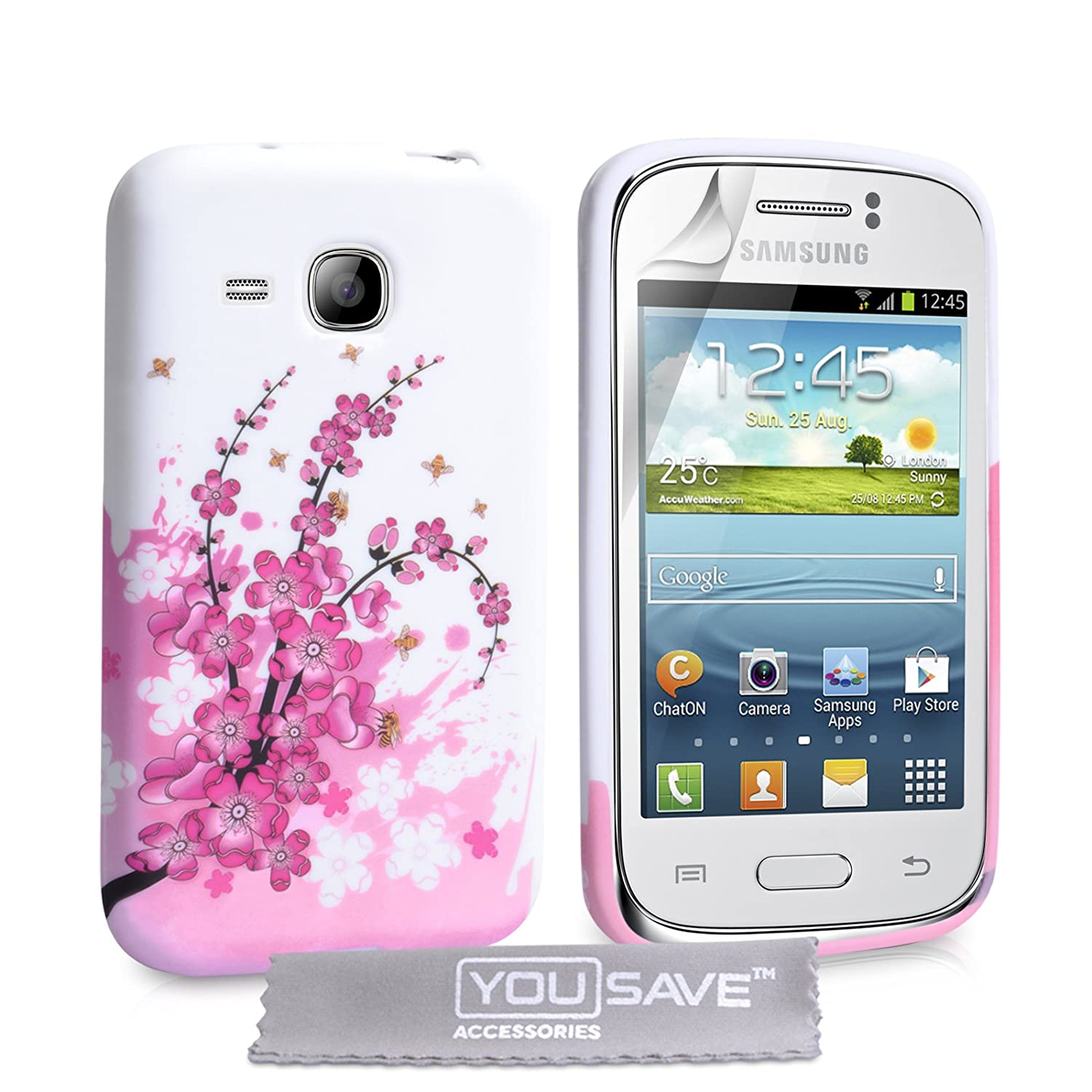 Yousave Accessories Samsung Galaxy Young Floral Bee Gel S6310 New Case Pink White Electronics