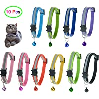 10 Pcs Cat Collars with Bell, Breakaway Cat Collar with Bell, Reflective Cat Collar, 10 Colors Nylon Cat Collar