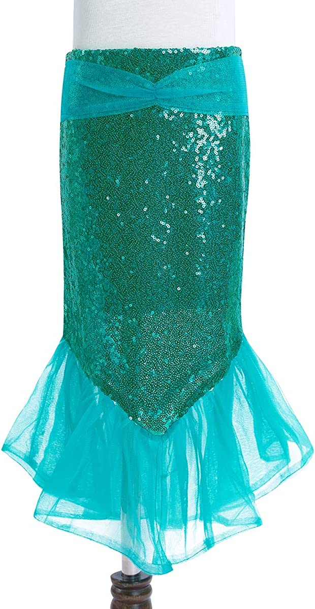 ranrann Girls Princess 2PCS Mermaid Cosplay Costume Shiny Sequins Crop Tops with Skirts Outfits