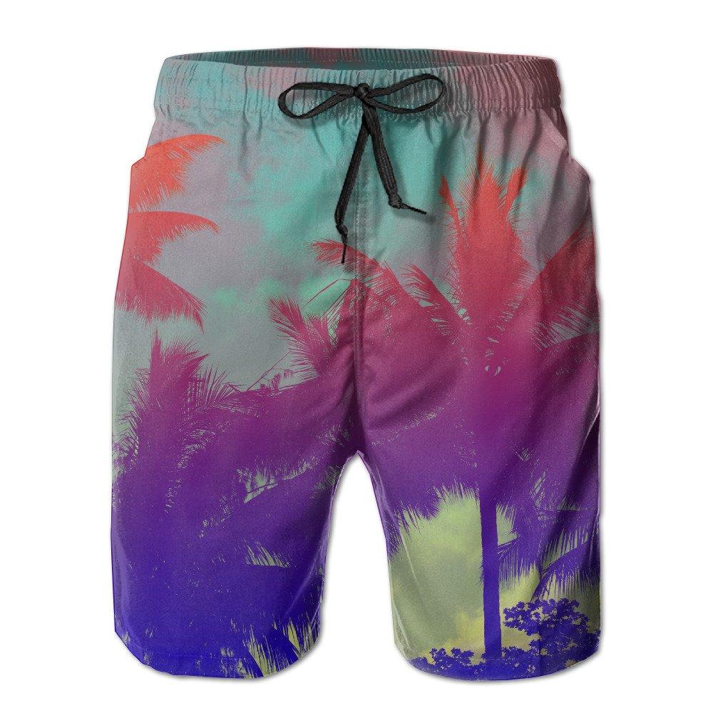 e1533be73e5 Amazon.com : Bdna Tropical Palm Tree Men's Beach Shorts Swim Trunks Casual  Sport Print Short Pants Jogging Pants : Sports & Outdoors