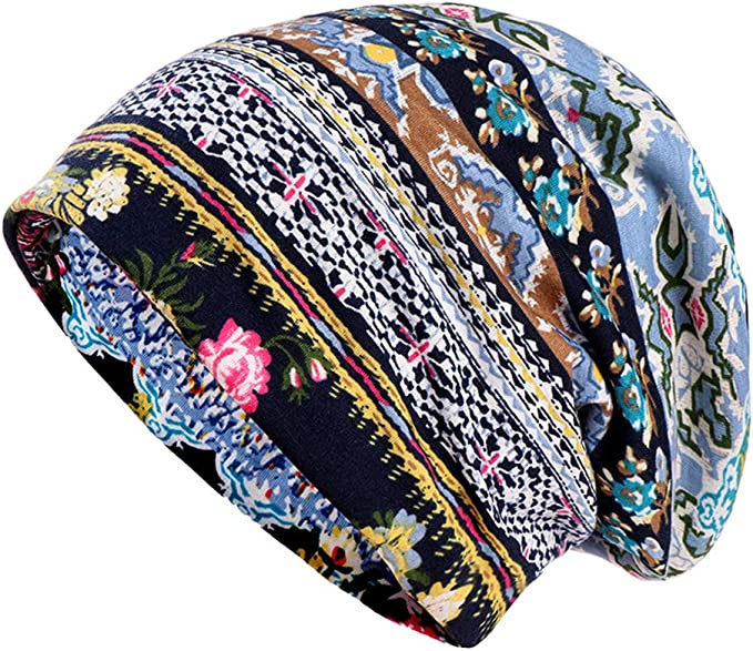 besbomig Gorro Algodón Dormir Gorra Turbante Sombreros - Suave Elástico Cabeza Envolver Impresión Sombrero Bufanda Redecilla por Alopecia: Amazon.es: Ropa y accesorios