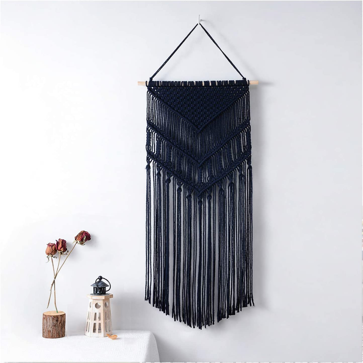 MREYYOO Macrame Wall Hanging Boho Wall Decor Woven Tapestry Bohemian Wall Art for Home, Bedroom, Baby Nursery, Wedding, Apartment, 17 x 35.4 Inch, Deep Blue