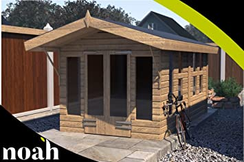 Noah - Cesta de jardín de madera resistente para jardín o taller (24 x 10 cm), diseño de casa de verano: Amazon.es: Jardín