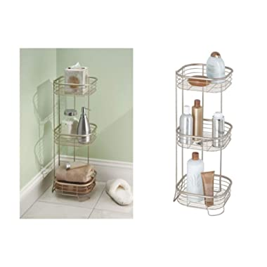 iDesign Forma Metal Wire Corner Standing Shower Caddy, Bath Shelf Baskets for Shampoo, Conditioner, Soap, 9.5  x 9.5  x 26.25 , Satin Silver