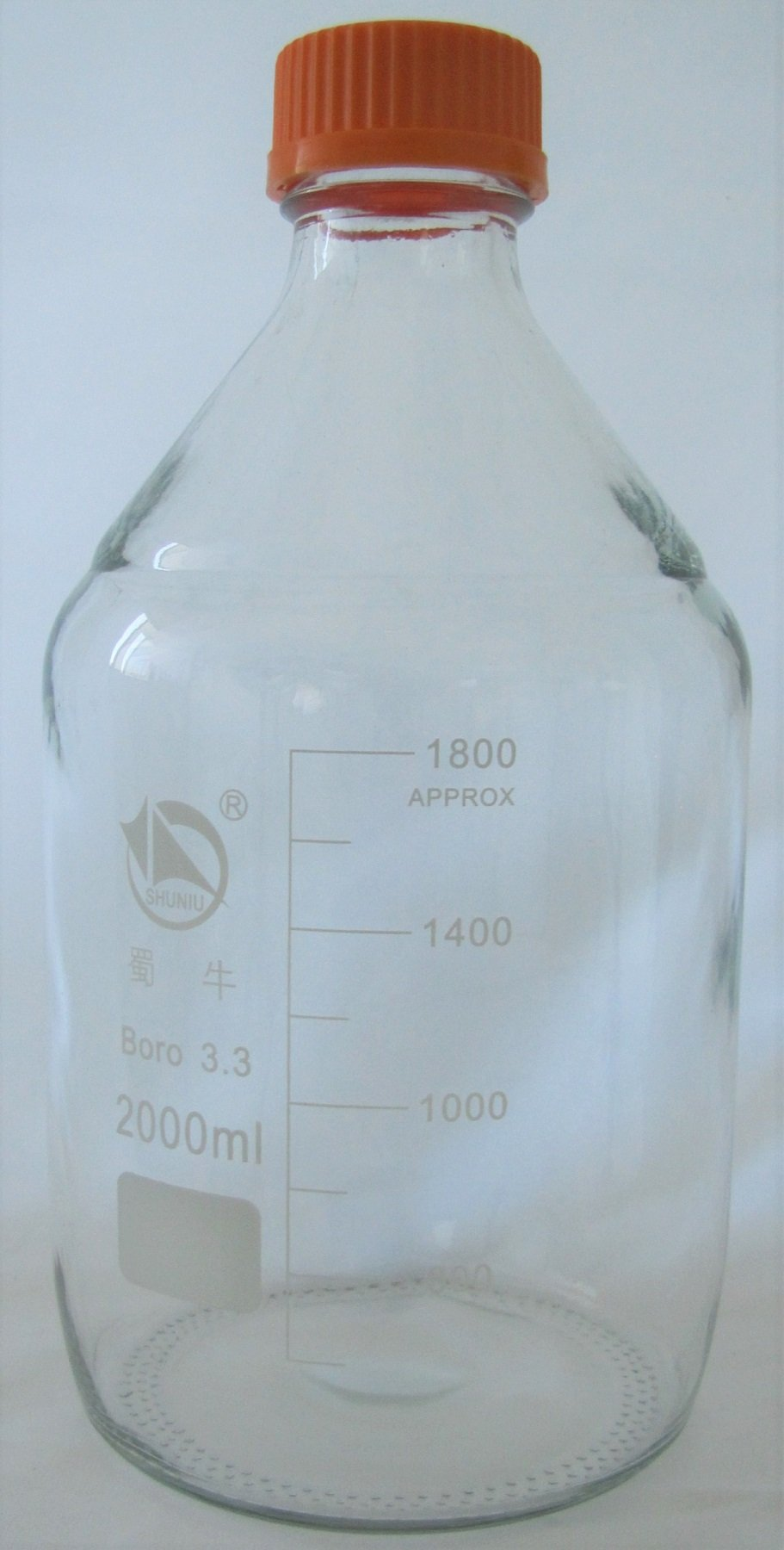 Borosilicate Glass Round Lab Media Storage Bottles, Tissue Culture Media Bottle, with Cap, Autoclavable (2000 ml) by Chang Bioscience