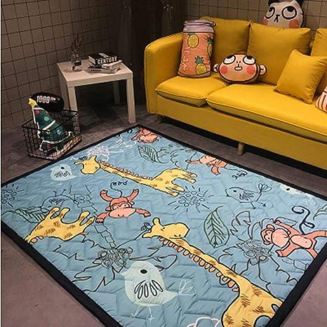 Cute Sloth Green Palm Leaf Round Baby Crawling Mat Area Rugs Floor Yoga Carpet