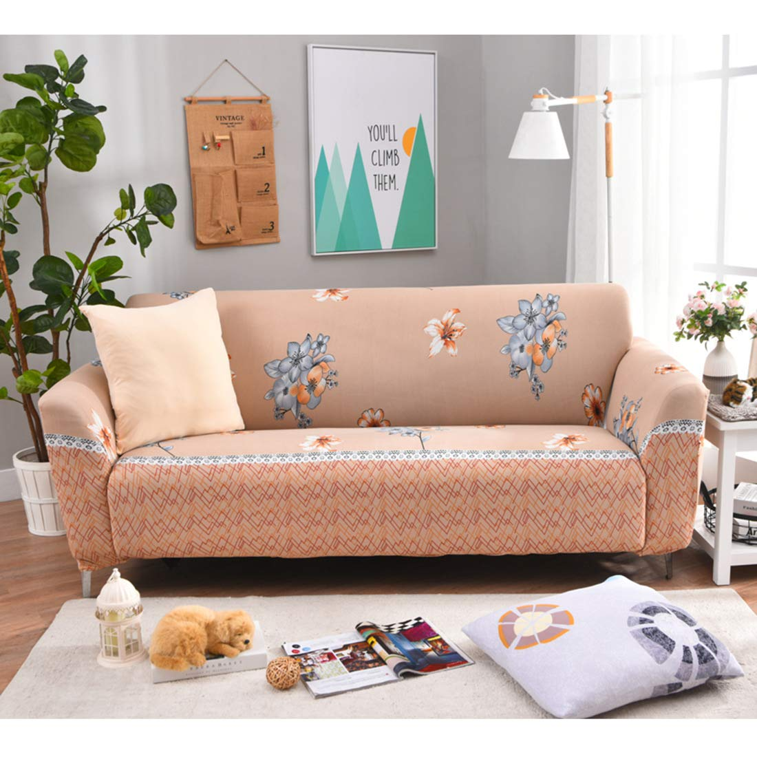 Royhom Sofa Cover, Loveseat Cover, Chair Cover, Elasticity Furniture Protector, Patchwork Cover, Stain Resistant, Machine Washable/Apricot, Loveseat Cover
