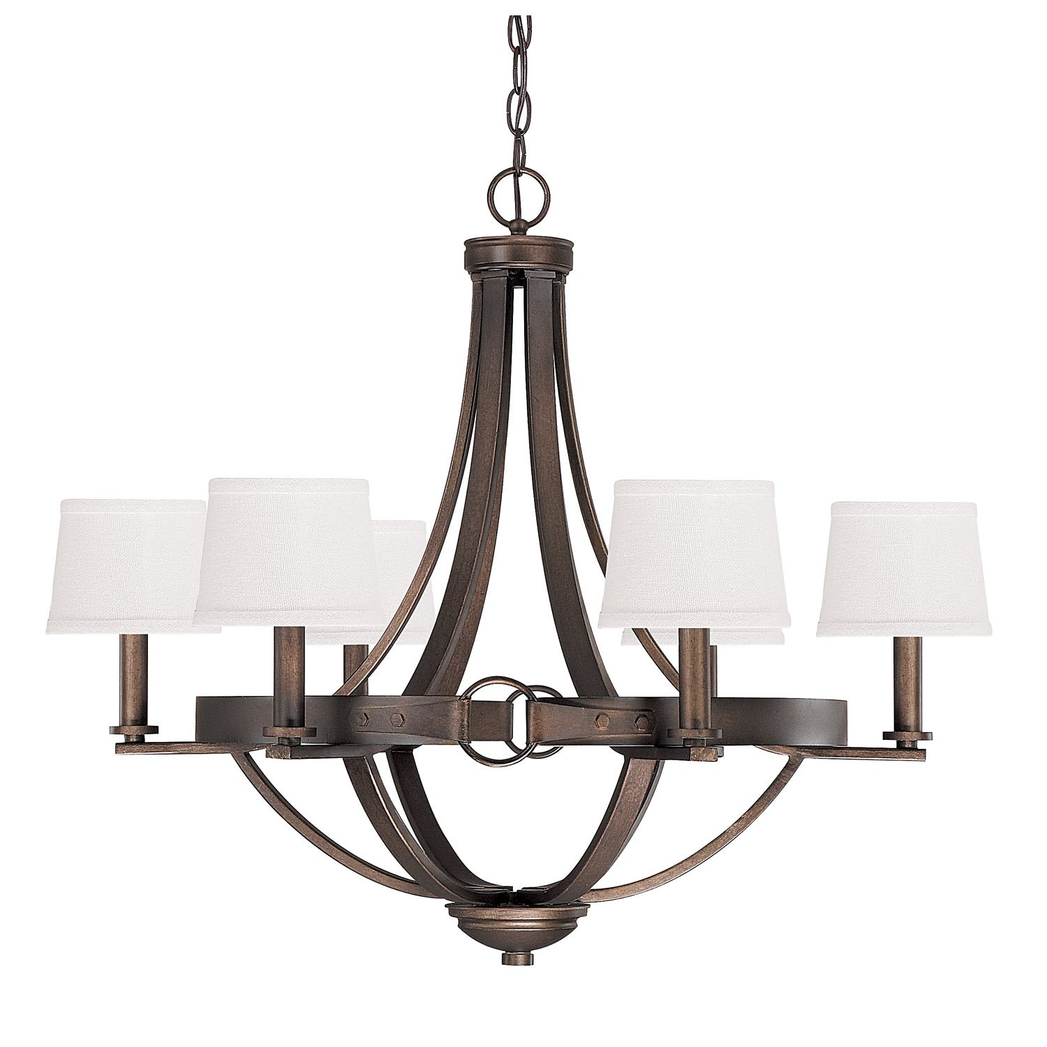 "Capital Lighting 4206TB-546 Chastain 6-Light Chandelier, Tobacco Finish with Decorative Shades, 29.25"" x 29.25"" x 24.5"""