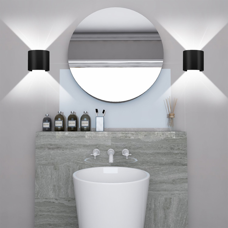 Applique Murale LED 13W Dimmable Lampe de Mur Moderne Noir Etanche IP65 Interieur Exterieur Angle Reglable Blanc Froid 6000K pour Chambre Salle de bain Salon Couloir