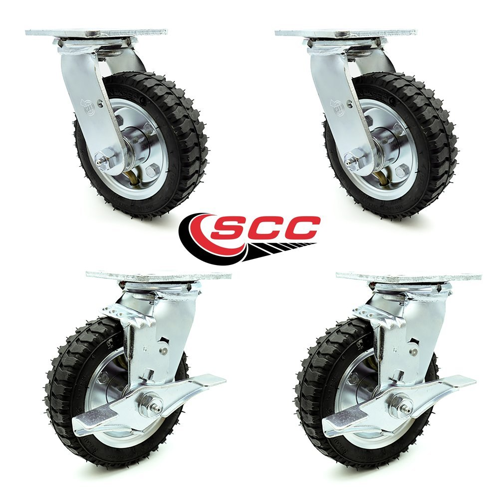 6'' Pneumatic Caster Set of 4-2 Swivel with Brakes/2 Swivel - Black Rubber Wheel - 1,000 lbs. Capacity - Service Caster Brand